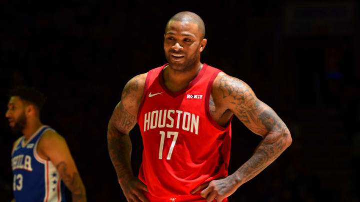 PJ Tucker #17 of the Houston Rockets smiles during the game against the Philadelphia 76ers (Photo by Jesse D. Garrabrant/NBAE via Getty Images)