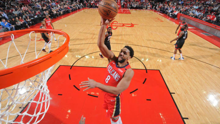 HOUSTON, TX - JANUARY 29: Jahlil Okafor #8 of the New Orleans Pelicans shoots the ball against the Houston Rockets on January 29, 2019 at the Toyota Center in Houston, Texas. NOTE TO USER: User expressly acknowledges and agrees that, by downloading and or using this photograph, User is consenting to the terms and conditions of the Getty Images License Agreement. Mandatory Copyright Notice: Copyright 2019 NBAE (Photo by Bill Baptist/NBAE via Getty Images)
