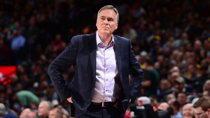 Head Coach Mike D'Antoni of the Houston Rockets looks on against the Denver Nuggets on February 1, 2019 (Photo by Bart Young/NBAE via Getty Images)