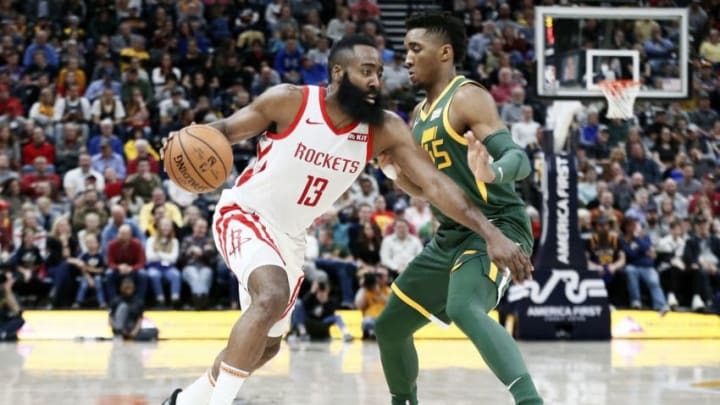 James Harden #13 of the Houston Rockets handles the ball against the Utah Jazz (Photo by Chris Elise/NBAE via Getty Images)
