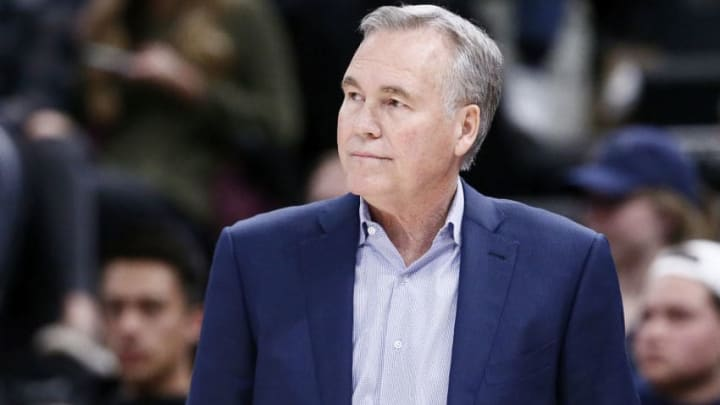 Head Coach Mike D'Antoni of the Houston Rockets smiles against the Utah Jazz (Photo by Chris Elise/NBAE via Getty Images)