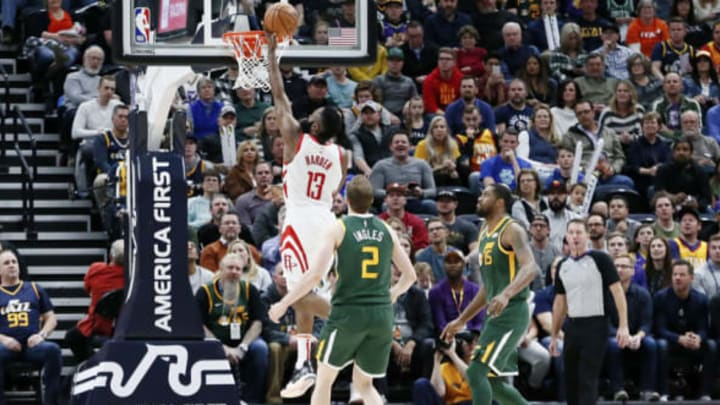 SALT LAKE CITY, UT – FEBRUARY 2: James Harden #13 of the Houston Rockets shoots the ball against the Utah Jazz on February 2, 2019 at Vivint Smart Home Arena in Salt Lake City, Utah. NOTE TO USER: User expressly acknowledges and agrees that, by downloading and/or using this Photograph, user is consenting to the terms and conditions of the Getty Images License Agreement. Mandatory Copyright Notice: Copyright 2019 NBAE (Photo by Chris Elise/NBAE via Getty Images)