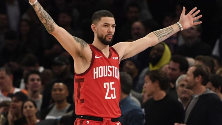 Austin Rivers #25 of the Houston Rockets reacts after scoring during the fourth quarter of the game against the New York Knicks