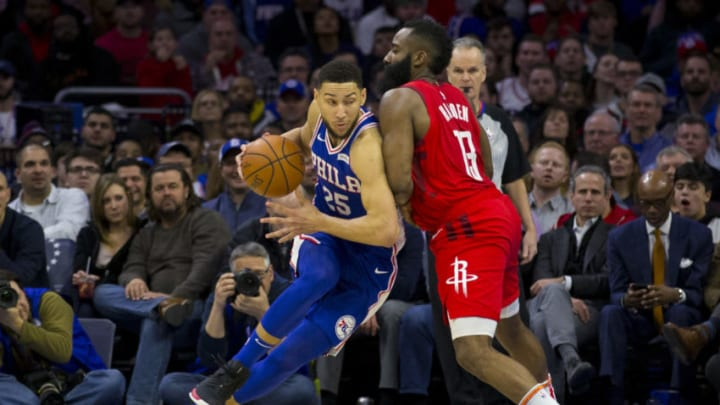 Ben Simmons of the Philadelphia 76ers & James Harden of the Houston Rockets (Photo by Mitchell Leff/Getty Images)