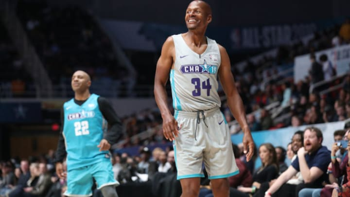 NBA Legend Ray Allen #34 smiles during the 2019 NBA All-Star Celebrity Game (Photo by Joe Murphy/NBAE via Getty Images)