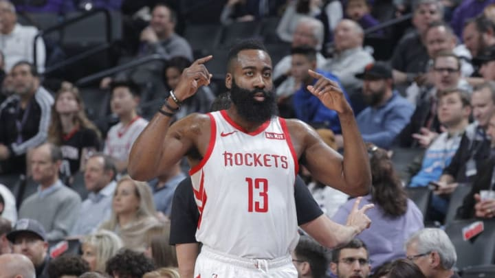 SACRAMENTO, CA - FEBRUARY 6: James Harden #13 of the Houston Rockets reacts during the game against the Sacramento Kings on February 6, 2019 at Golden 1 Center in Sacramento, California. NOTE TO USER: User expressly acknowledges and agrees that, by downloading and or using this photograph, User is consenting to the terms and conditions of the Getty Images Agreement. Mandatory Copyright Notice: Copyright 2019 NBAE (Photo by Rocky Widner/NBAE via Getty Images)