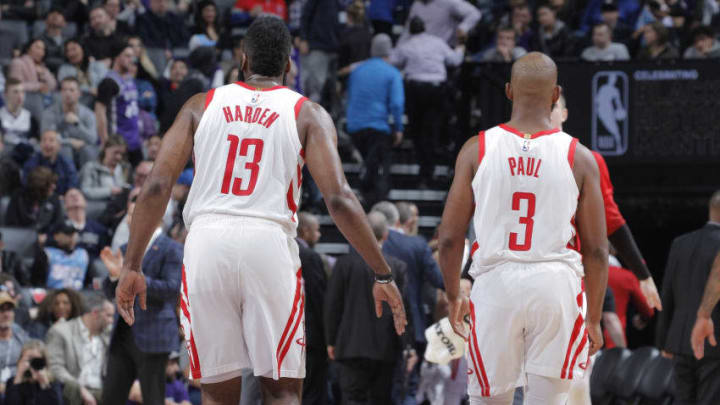 James Harden #13 and Chris Paul #3 of the Houston Rockets face the Sacramento Kings (Photo by Rocky Widner/NBAE via Getty Images)