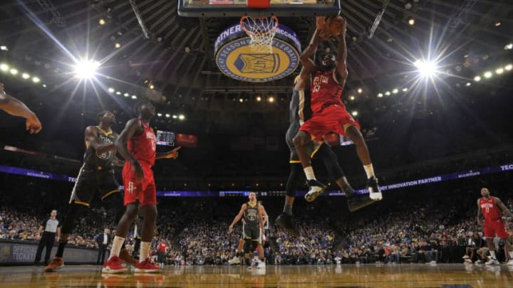 OAKLAND, CA - FEBRUARY 23: Kenneth Faried #35 of the Houston Rockets shoots the ball against the Golden State Warriors on February 23, 2019 at ORACLE Arena in Oakland, California. NOTE TO USER: User expressly acknowledges and agrees that, by downloading and or using this photograph, User is consenting to the terms and conditions of the Getty Images License Agreement. Mandatory Copyright Notice: Copyright 2019 NBAE (Photo by Bill Baptist/NBAE via Getty Images)