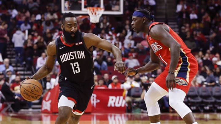 Houston Rockets James Harden Jrue Holiday (Photo by Bob Levey/Getty Images)