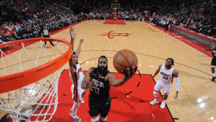 James Harden #13 of the Houston Rockets shoots the ball against the Miami Heat (Photo by Bill Baptist/NBAE via Getty Images)