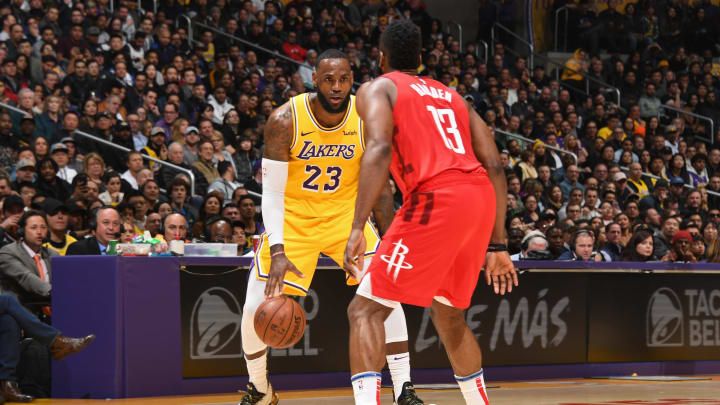 LOS ANGELES, CA – FEBRUARY 21: LeBron James #23 of the Los Angeles Lakers handles the ball against the Houston Rockets on February 21, 2019 at STAPLES Center in Los Angeles, California. NOTE TO USER: User expressly acknowledges and agrees that, by downloading and/or using this Photograph, user is consenting to the terms and conditions of the Getty Images License Agreement. Mandatory Copyright Notice: Copyright 2019 NBAE (Photo by Andrew D. Bernstein/NBAE via Getty Images)