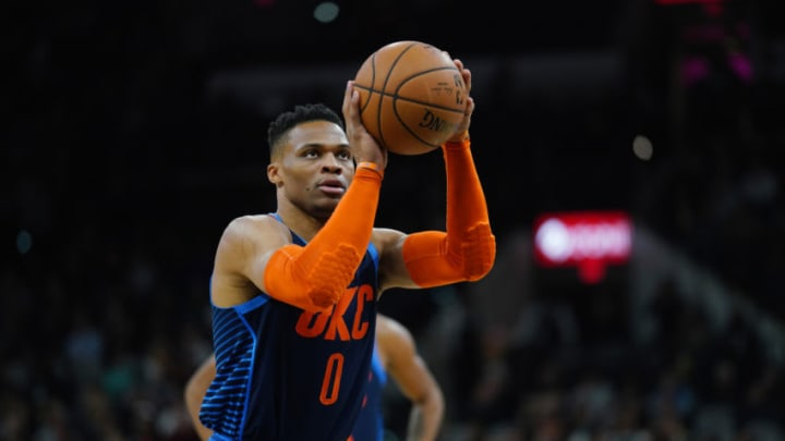 Russell Westbrook #0 of the Oklahoma City Thunder (Photos by Darren Carroll/NBAE via Getty Images)