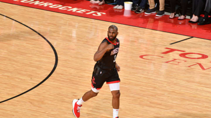 HOUSTON, TX - MARCH 13: Chris Paul #3 of the Houston Rockets reacts during a game against the Golden State Warriors on March 13, 2019 at the Toyota Center in Houston, Texas. NOTE TO USER: User expressly acknowledges and agrees that, by downloading and or using this photograph, User is consenting to the terms and conditions of the Getty Images License Agreement. Mandatory Copyright Notice: Copyright 2019 NBAE (Photo by Jesse D. Garrabrant/NBAE via Getty Images)