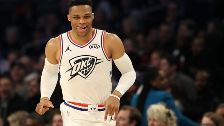 CHARLOTTE, NORTH CAROLINA - FEBRUARY 17: Russell Westbrook #0 of the Oklahoma City Thunder and Team Giannis reacts as they take on Team LeBron during the NBA All-Star game as part of the 2019 NBA All-Star Weekend at Spectrum Center on February 17, 2019 in Charlotte, North Carolina. Team LeBron won 178-164. NOTE TO USER: User expressly acknowledges and agrees that, by downloading and/or using this photograph, user is consenting to the terms and conditions of the Getty Images License Agreement. (Photo by Streeter Lecka/Getty Images)