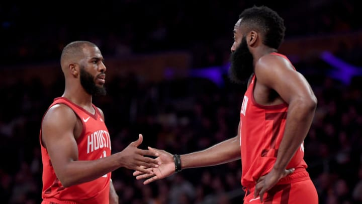 Chris Paul #3 and James Harden #13 of the Houston Rockets (Photo by Harry How/Getty Images)