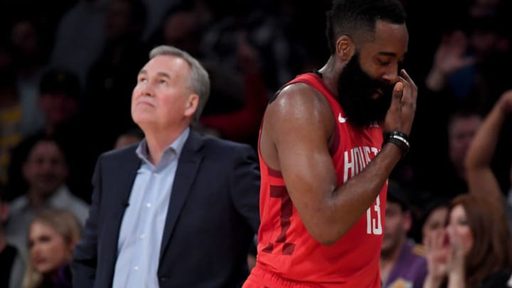James Harden #13 of the Houston Rockets reacts in front of Mike D'Antoni (Photo by Harry How/Getty Images)