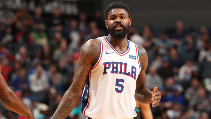 CHARLOTTE, NC – MARCH 19: Amir Johnson #5 of the Philadelphia 76ers looks on during the game against the Charlotte Hornets on March 19, 2019 at Spectrum Center in Charlotte, North Carolina. NOTE TO USER: User expressly acknowledges and agrees that, by downloading and or using this photograph, User is consenting to the terms and conditions of the Getty Images License Agreement. Mandatory Copyright Notice: Copyright 2019 NBAE (Photo by Kent Smith/NBAE via Getty Images)