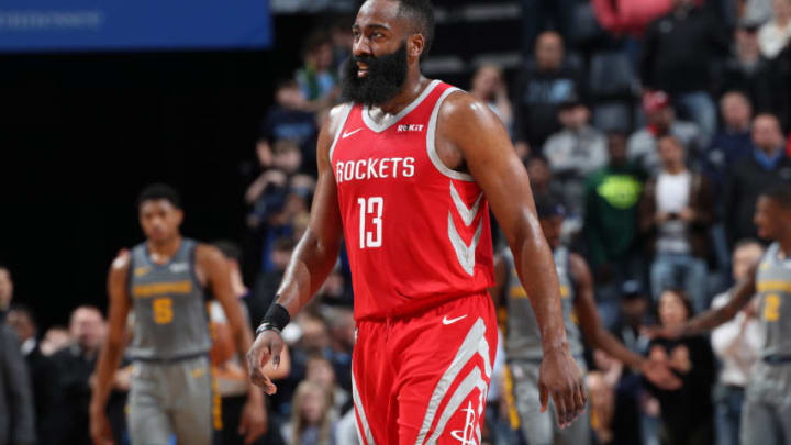 James Harden #13 of the Houston Rockets looks on against the Memphis Grizzlies (Photo by Joe Murphy/NBAE via Getty Images)
