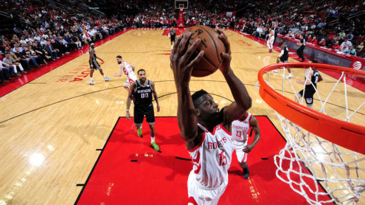 Clint Capela #15 of the Houston Rockets shoots the ball against the Sacramento Kings (Photo by Bill Baptist/NBAE via Getty Images)