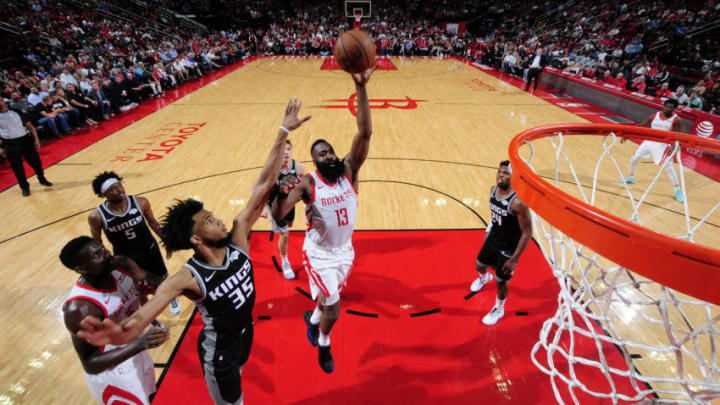 HOUSTON, TX - MARCH 30: James Harden #13 of the Houston Rockets shoots the ball against the Sacramento Kings on March 30, 2019 at the Toyota Center in Houston, Texas. NOTE TO USER: User expressly acknowledges and agrees that, by downloading and or using this photograph, User is consenting to the terms and conditions of the Getty Images License Agreement. Mandatory Copyright Notice: Copyright 2019 NBAE (Photo by Bill Baptist/NBAE via Getty Images)