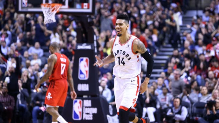 TORONTO, ON - MARCH 5: Danny Green #14 of the Toronto Raptors reacts during the second half of an NBA game against the Houston Rockets at Scotiabank Arena on March 5, 2019 in Toronto, Canada. NOTE TO USER: User expressly acknowledges and agrees that, by downloading and or using this photograph, User is consenting to the terms and conditions of the Getty Images License Agreement. (Photo by Vaughn Ridley/Getty Images)