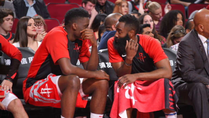 HOUSTON, TX - APRIL 7: Clint Capela #15 and James Harden #13 of the Houston Rockets talk during the game against the Phoenix Suns on April 7, 2019 at the Toyota Center in Houston, Texas. NOTE TO USER: User expressly acknowledges and agrees that, by downloading and/or using this photograph, user is consenting to the terms and conditions of the Getty Images License Agreement. Mandatory Copyright Notice: Copyright 2019 NBAE (Photo by Bill Baptist/NBAE via Getty Images)