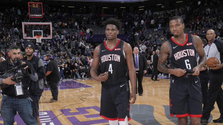 SACRAMENTO, CA – APRIL 2: Danuel House Jr. #4 and Gary Clark #6 of the Houston Rockets walk off the court after defeating the Sacramento Kings on April 2, 2019 at Golden 1 Center in Sacramento, California. NOTE TO USER: User expressly acknowledges and agrees that, by downloading and or using this photograph, User is consenting to the terms and conditions of the Getty Images Agreement. Mandatory Copyright Notice: Copyright 2019 NBAE (Photo by Rocky Widner/NBAE via Getty Images)