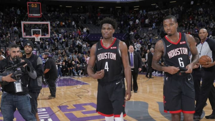 SACRAMENTO, CA - APRIL 2: Danuel House Jr. #4 and Gary Clark #6 of the Houston Rockets walk off the court after defeating the Sacramento Kings on April 2, 2019 at Golden 1 Center in Sacramento, California. NOTE TO USER: User expressly acknowledges and agrees that, by downloading and or using this photograph, User is consenting to the terms and conditions of the Getty Images Agreement. Mandatory Copyright Notice: Copyright 2019 NBAE (Photo by Rocky Widner/NBAE via Getty Images)