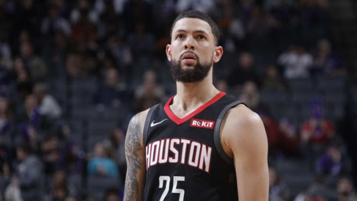SACRAMENTO, CA - APRIL 2: Austin Rivers #25 of the Houston Rockets looks on during the game against the Sacramento Kings on April 2, 2019 at Golden 1 Center in Sacramento, California. NOTE TO USER: User expressly acknowledges and agrees that, by downloading and or using this photograph, User is consenting to the terms and conditions of the Getty Images Agreement. Mandatory Copyright Notice: Copyright 2019 NBAE (Photo by Rocky Widner/NBAE via Getty Images)