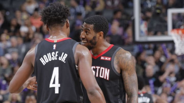 SACRAMENTO, CA - APRIL 2: Iman Shumpert #1 and Danuel House Jr. #4 of the Houston Rockets talk during the game against the Sacramento Kings on April 2, 2019 at Golden 1 Center in Sacramento, California. NOTE TO USER: User expressly acknowledges and agrees that, by downloading and or using this photograph, User is consenting to the terms and conditions of the Getty Images Agreement. Mandatory Copyright Notice: Copyright 2019 NBAE (Photo by Rocky Widner/NBAE via Getty Images)