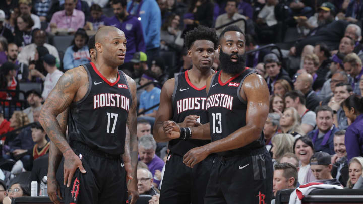 PJ Tucker #17, Danuel House Jr. #4 and James Harden #13 Houston Rockets (Photo by Rocky Widner/NBAE via Getty Images)