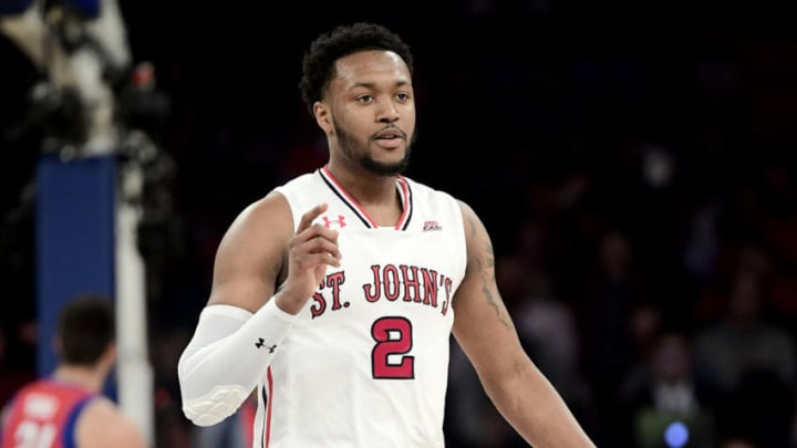 NEW YORK, NEW YORK - MARCH 13: Shamorie Ponds #2 of the St. John's Red Storm celebrates the play against the DePaul Blue Demons during the first round of the 2019 Big East men's basketball tournament at Madison Square Garden on March 13, 2019 in New York City. (Photo by Steven Ryan/Getty Images)
