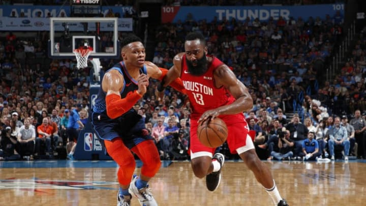 Houston Rockets James Harden Russell Westbrook (Photo by Jeff Haynes/NBAE via Getty Images)