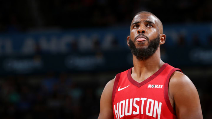 Chris Paul #3 of the Houston Rockets looks on during the game against the Oklahoma City Thunder (Photo by Zach Beeker/NBAE via Getty Images)