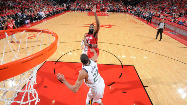 HOUSTON, TX - APRIL 14: James Harden #13 of the Houston Rockets shoots the ball against the Utah Jazz during Game One of Round One of the 2019 NBA Playoffs on April 14, 2019 at the Toyota Center in Houston, Texas. NOTE TO USER: User expressly acknowledges and agrees that, by downloading and or using this photograph, User is consenting to the terms and conditions of the Getty Images License Agreement. Mandatory Copyright Notice: Copyright 2019 NBAE (Photo by Bill Baptist/NBAE via Getty Images)