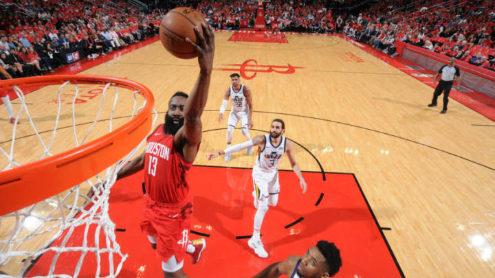 HOUSTON, TX - APRIL 14: James Harden #13 of the Houston Rockets (Photo by Bill Baptist/NBAE via Getty Images)