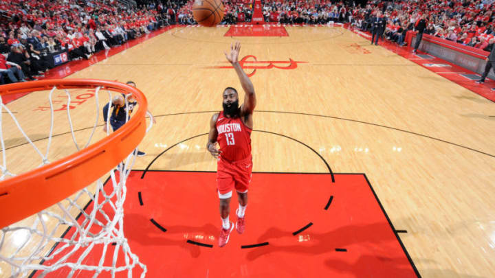 HOUSTON, TX - APRIL 17: James Harden #13 of the Houston Rockets shoots the ball against the Utah Jazz during Game Two of Round One of the 2019 NBA Playoffs on April 17, 2019 at the Toyota Center in Houston, Texas. NOTE TO USER: User expressly acknowledges and agrees that, by downloading and/or using this photograph, user is consenting to the terms and conditions of the Getty Images License Agreement. Mandatory Copyright Notice: Copyright 2019 NBAE (Photo by Bill Baptist/NBAE via Getty Images)