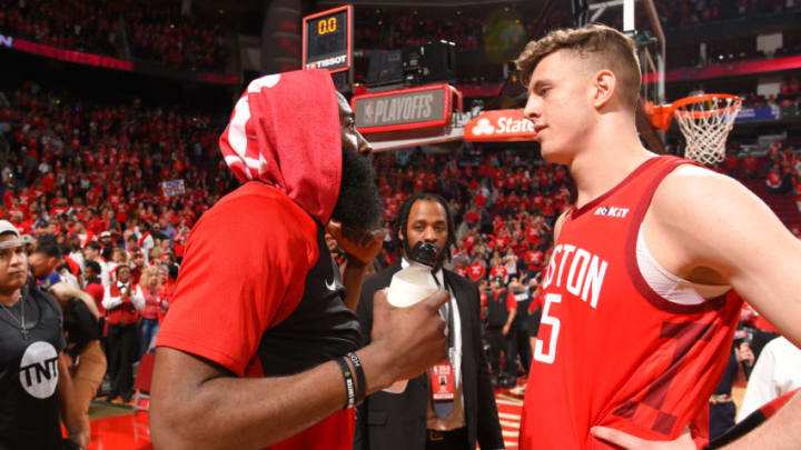 James Harden #13 and Isaiah Hartenstein #55 of the Houston Rockets (Photo by Bill Baptist/NBAE via Getty Images)