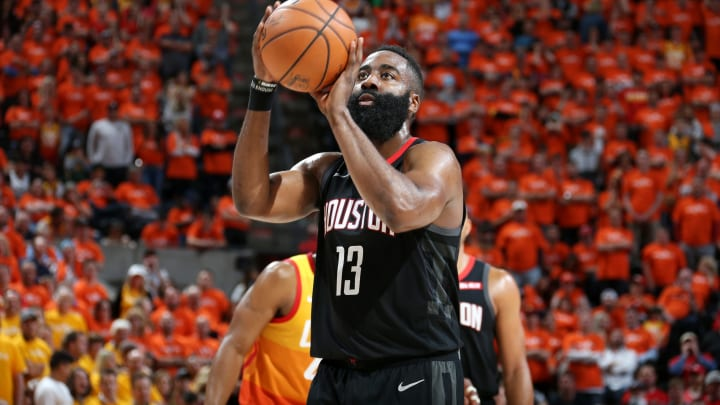 James Harden #13 of the Houston Rockets (Photo by Melissa Majchrzak/NBAE via Getty Images)