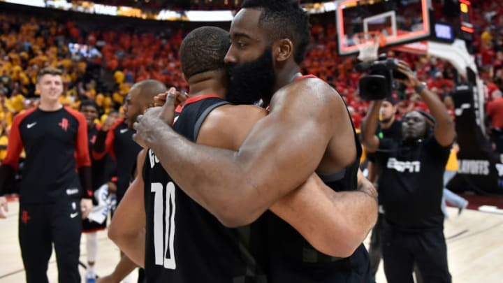 Eric Gordon #10 and James Harden #13 of the Houston Rockets (Photo by Gene Sweeney Jr./Getty Images)