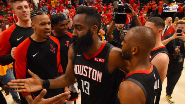 SALT LAKE CITY, UT - APRIL 20: James Harden #13 celebrates with the Houston Rockets after defeating the Utah Jazz during Game Three of Round One of the 2019 NBA Playoffs on April 20, 2019 at the Vivint Smart Home Arena in Salt Lake City, Utah. NOTE TO USER: User expressly acknowledges and agrees that, by downloading and or using this photograph, user is consenting to the terms and conditions of the Getty Images License Agreement. Mandatory Copyright Notice: Copyright 2019 NBAE (Photo by Bill Baptist/NBAE via Getty Images)