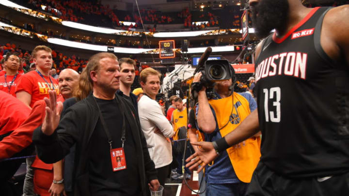SALT LAKE CITY, UT - APRIL 20: Owner Tilman Fertitta is seen with James Harden #13 of the Houston Rockets during the game against the Utah Jazz during Game Three of Round One of the 2019 NBA Playoffs on April 20, 2019 at the Vivint Smart Home Arena in Salt Lake City, Utah. NOTE TO USER: User expressly acknowledges and agrees that, by downloading and or using this photograph, user is consenting to the terms and conditions of the Getty Images License Agreement. Mandatory Copyright Notice: Copyright 2019 NBAE (Photo by Bill Baptist/NBAE via Getty Images)