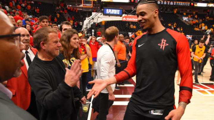 Owner Tilman Fertitta is seen with Gerald Green #14 of the Houston Rockets during the game against the Utah Jazz (Photo by Bill Baptist/NBAE via Getty Images)