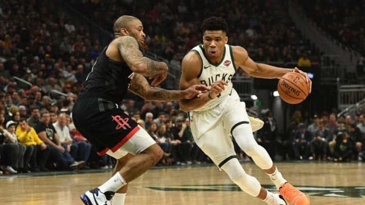 Houston Rockets P.J. Tucker Giannis Antetokounmpo (Photo by Stacy Revere/Getty Images)
