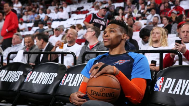 PORTLAND, OR - APRIL 23: Russell Westbrook #0 of the Oklahoma City Thunder looks on before Game Five of Round One of the 2019 NBA Playoffs against the Portland Trail Blazers on April 23, 2019 at the Moda Center in Portland, Oregon. NOTE TO USER: User expressly acknowledges and agrees that, by downloading and or using this Photograph, user is consenting to the terms and conditions of the Getty Images License Agreement. Mandatory Copyright Notice: Copyright 2019 NBAE (Photo by Sam Forencich/NBAE via Getty Images)