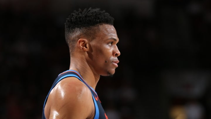 Russell Westbrook #0 of the Oklahoma City Thunder looks on during Game Five of Round One of the 2019 NBA Playoffs (Photo by Zach Beeker/NBAE via Getty Images)
