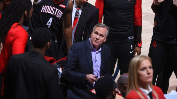 SALT LAKE CITY, UT - APRIL 22: Head Coach Mike D'Antoni of the Houston Rockets stares on during the game against the Utah Jazz during Game Four of Round One of the 2019 NBA Playoffs on April 22, 2019 at vivint.SmartHome Arena in Salt Lake City, Utah. NOTE TO USER: User expressly acknowledges and agrees that, by downloading and or using this Photograph, User is consenting to the terms and conditions of the Getty Images License Agreement. Mandatory Copyright Notice: Copyright 2019 NBAE (Photo by Bill Baptist/NBAE via Getty Images)