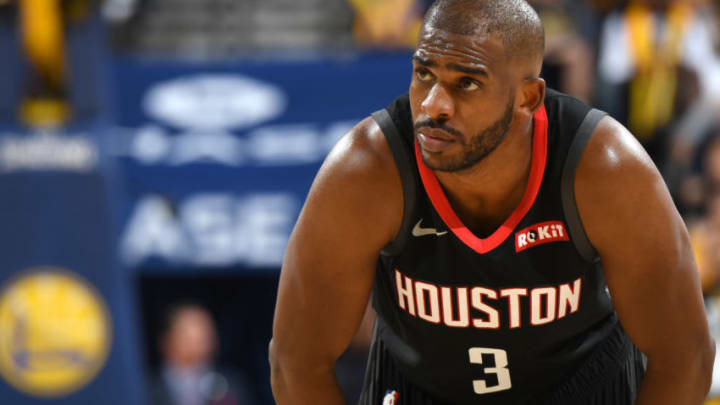 Chris Paul #3 of the Houston Rockets looks on against the Golden State Warriors (Photo by Andrew D. Bernstein/NBAE via Getty Images)