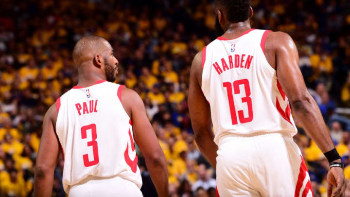Chris Paul #3 and James Harden #13 of the Houston Rockets (Photo by Noah Graham/NBAE via Getty Images)