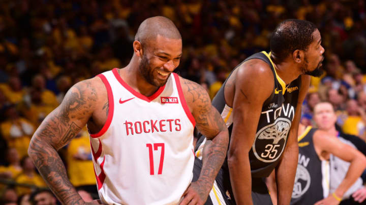 OAKLAND, CA - APRIL 30: PJ Tucker #17 of the Houston Rockets smiles during Game Two of the Western Conference Semifinals of the 2019 NBA Playoffs against the Golden State Warriors on April 30, 2019 at ORACLE Arena in Oakland, California. NOTE TO USER: User expressly acknowledges and agrees that, by downloading and or using this photograph, user is consenting to the terms and conditions of Getty Images License Agreement. Mandatory Copyright Notice: Copyright 2019 NBAE (Photo by Noah Graham/NBAE via Getty Images)